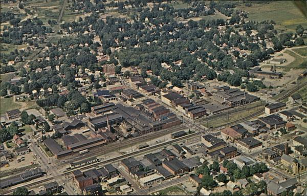 Aerial View of Main Business District Corry Pennsylvania