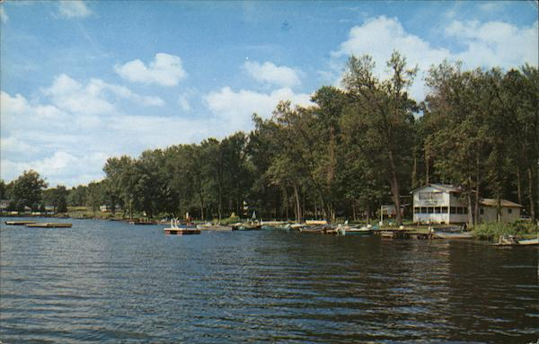 Resort Cottages Along the Shore Near Kostra's Dairyland. Canadohta Lake Pennsylvania