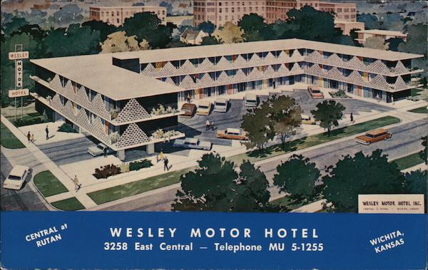 Wesley Motor Hotel Wichita Ks Postcard