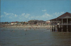 View of Pier, Beach and Bathers at Tybee Island