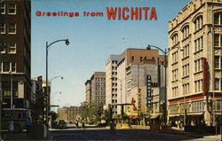 Looking West at Intersection of Broadway and Douglas Postcard