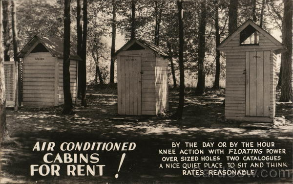 Air Conditioned Cabins For Rent! Outhouses & Bathrooms