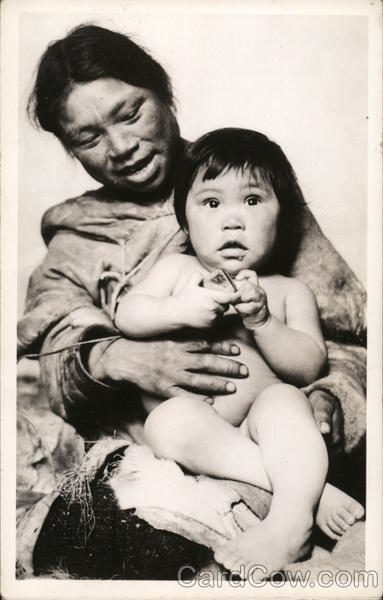 Eskimo Mother and Baby Alaska Native Americana