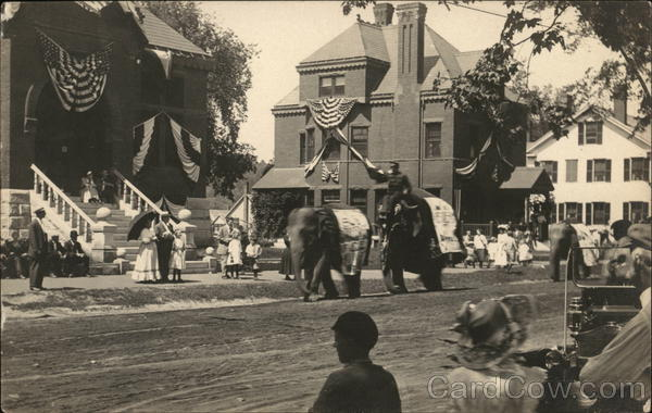 Elephants in Circus Parade Newport New Hampshire