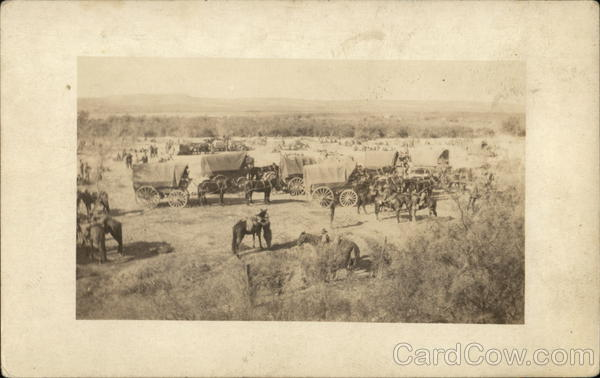 View of Covered Wagon Train Cowboy Western