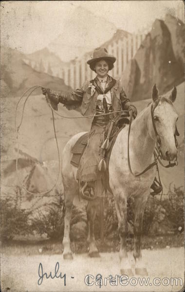 Cowgirl on Horse With Lassoo Cowboy Western