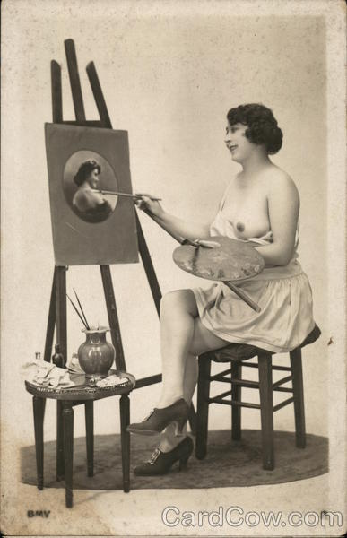 Woman Painting Semi-Nude Self Portrait Risque & Nude