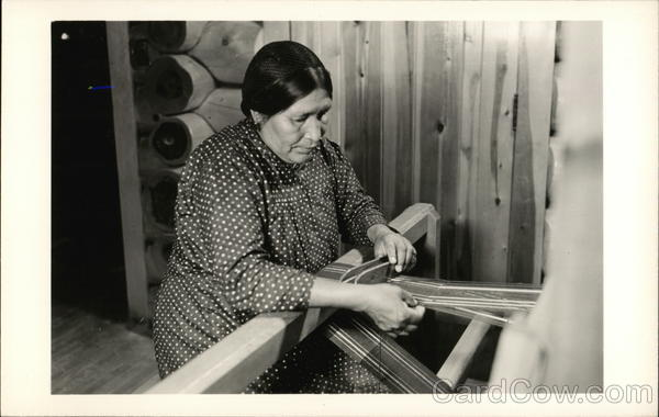 Indian Woman Weaving on Loom Native Americana