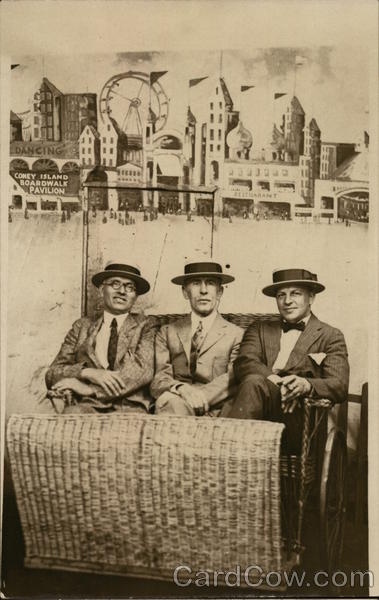 Snapshot of 3 Men in Carriage, Boardwalk Pavilion Coney Island New York