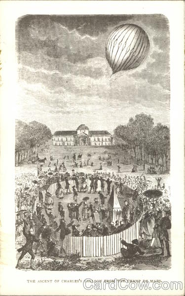 The Ascent of Charles' Balloon From the Champ de Mars Paris France