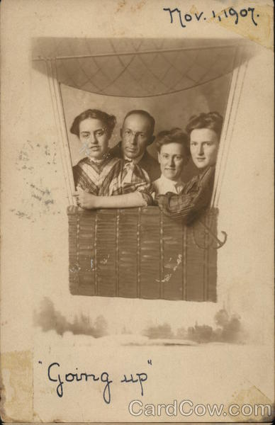 Portrait of Family in Balloon Hot Air Balloons