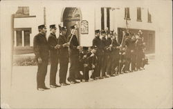 Row of Men in Uniform Holding Axes - Firemen?