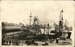Two Steamships at Dock