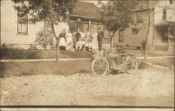 Early Motorcycle w/Sidecar Outside Home of Mr. & Mrs. Sears