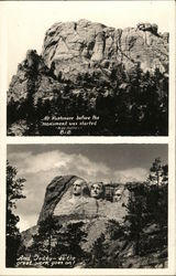 Mount Rushmore - Before and During Construction