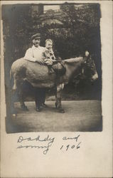 Daddy and Sonny and Horse 1906 Postcard