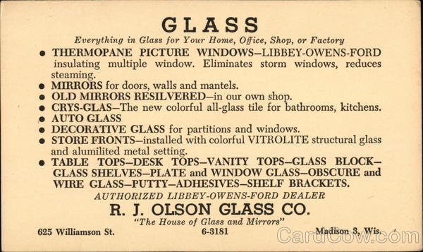 R. J. Olson Glass Co. Madison Wisconsin Advertising