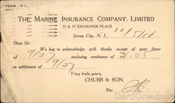 The Marine Insurance Company, Limited Jersey City New Jersey