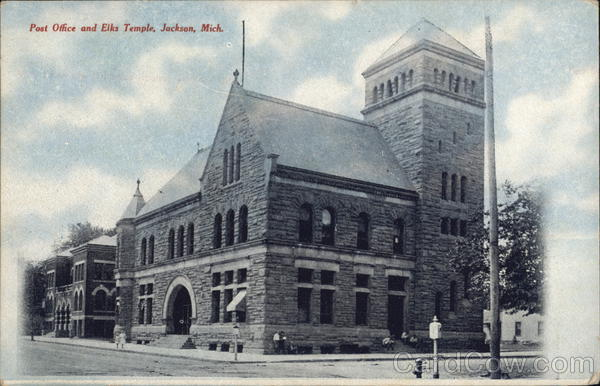 jackson post office post office and elks temple jackson mi postcard 350