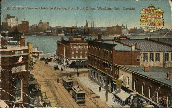 Bird's Eye View of Oulette Avenue from Post Office Windsor Canada