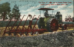 """The Type F"" Oil Pull Tractor and Six Bottom Engine Gang"