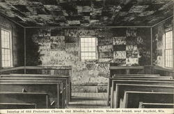 Interior of Old Protestant Church, Old mission, La Pointe, Madeline Island Postcard