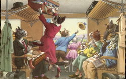 Cats in Clothes on Train
