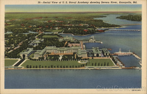Aerial View of U.S. Naval Academy Showing Severn River Annapolis Maryland