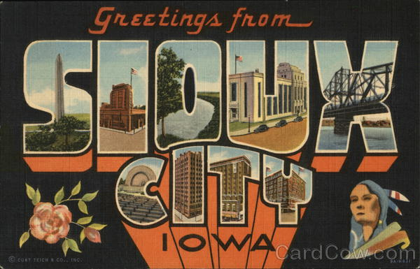 Greetings From Sioux City, Iowa Large Letter