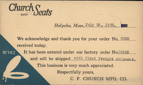 Church Sani-Seats, C.F. Church Mfg. Co. Holyoke Massachusetts