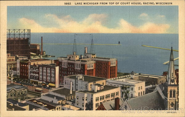 Lake Michigan From Top of Court House Racine Wisconsin