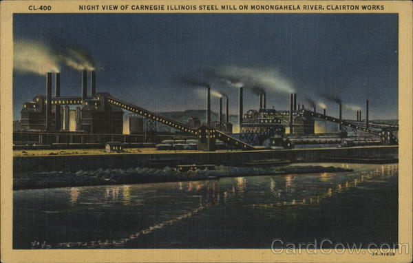 Night View of Carnegie Illinois Steel Mill on Monongahela River, Clairton Works Pennsylvania