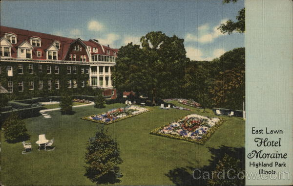 Hotel Moraine On The Lake East Lawn Highland Park Il Postcard