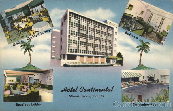 Hotel Continental Miami Beach Fl Postcard