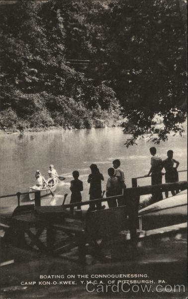 BOATING ON THE CONNOQUENESSING, CAMP KON-O-KWEE. Y.M.C.A. OF PITTSBURGH, PA Pennsylvania