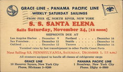 SS Santa Elena Sails Saturday, November 24, 12 Noon