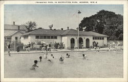 Swimming Pool in Recreation Park Postcard