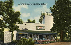 Observation Tower and Hobby Shop Postcard