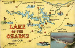 Map of the Lake of the Ozarks Postcard