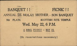 Annual de Molay Mother-Son Banquet, Scottish Rite Temple