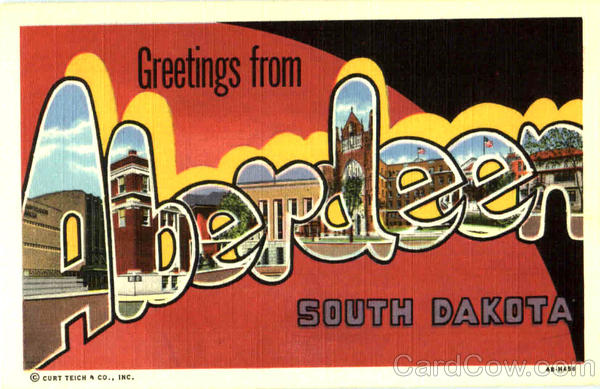 Greetings From Aberdeen South Dakota Large Letter