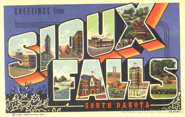 Greetings From Sioux Falls South Dakota Large Letter