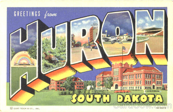 Greetings From Huron South Dakota Large Letter