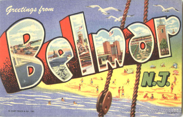 Greetings From Belmar New Jersey Large Letter