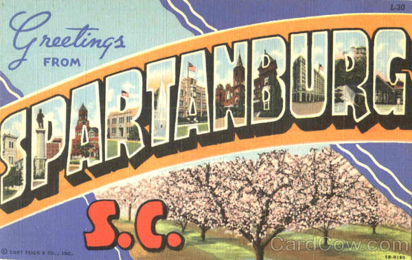 Greetings From Spartanburg South Carolina Large Letter