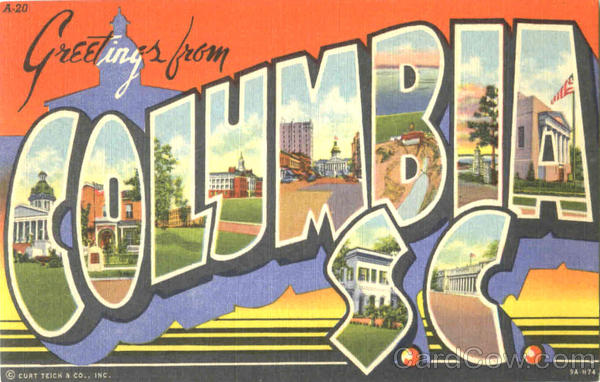 Greetings From Columbia South Carolina Large Letter