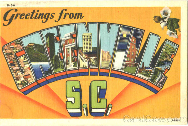 Greetings From Greenville South Carolina Large Letter