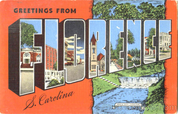 Greetings From Florence South Carolina Large Letter