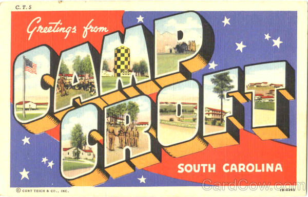 Greetings From Camp Croft South Carolina Large Letter