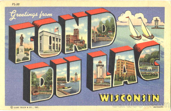 Greetings From Fond Dulac Fond Du Lac Wisconsin Large Letter